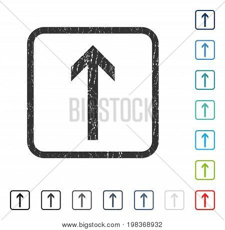 Arrow Up rubber watermark in some color versions.. Vector icon symbol inside rounded rectangular frame with grunge design and scratched texture. Stamp seal illustration, unclean sticker.
