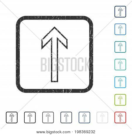 Arrow Up rubber watermark in some color versions.. Vector icon symbol inside rounded rectangular frame with grunge design and dust texture. Stamp seal illustration, unclean sticker.