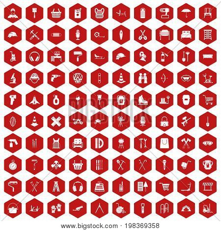 100 outfit icons set in red hexagon isolated vector illustration