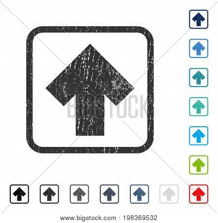 Arrow Up rubber watermark in some color versions.. Vector pictogram symbol inside rounded rectangle with grunge design and dust texture. Stamp seal illustration, unclean sticker.