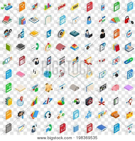 100 e-learning icons set in isometric 3d style for any design vector illustration