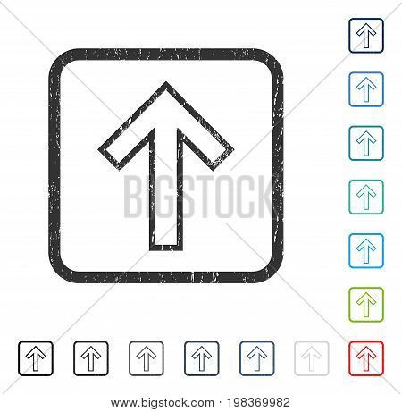 Arrow Up rubber watermark in some color versions.. Vector pictogram symbol inside rounded rectangular frame with grunge design and scratched texture. Stamp seal illustration, unclean sticker.