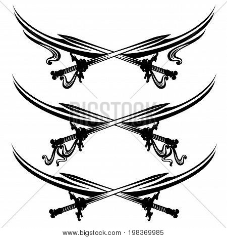 crossed swords design set - black and white vector page dividers