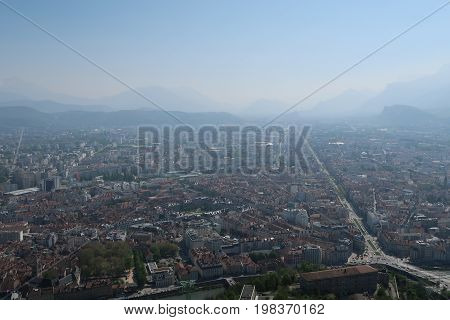 Cityscape of the city of Grenoble, France