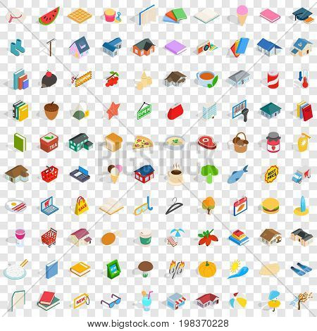 100 family icons set in isometric 3d style for any design vector illustration