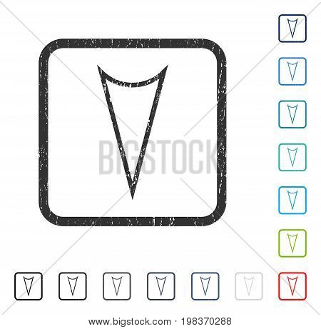 Arrowhead Down rubber watermark in some color versions.. Vector pictogram symbol inside rounded rectangle with grunge design and scratched texture. Stamp seal illustration, unclean sticker.