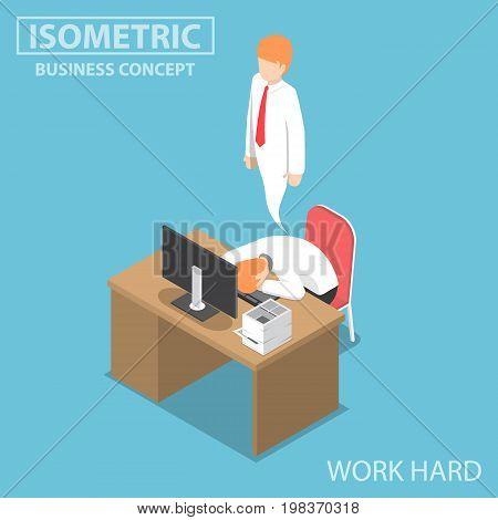 Isometric Businessman Work Hard Until Dead