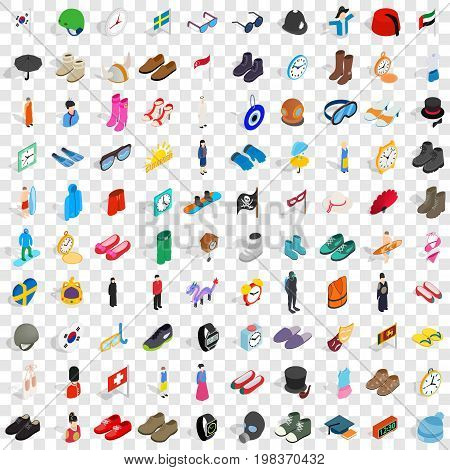 100 fashion icons set in isometric 3d style for any design vector illustration
