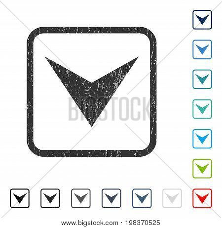 Arrowhead Down rubber watermark in some color versions.. Vector icon symbol inside rounded rectangle with grunge design and dirty texture. Stamp seal illustration, unclean sticker.