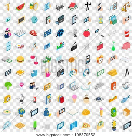100 feature icons set in isometric 3d style for any design vector illustration