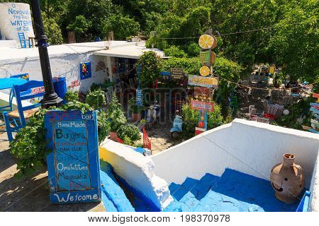 Zia Greece - May 10 2017: Colorful The Watermill bar in Zia village on Kos island.