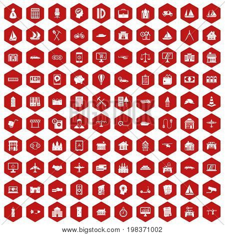 100 private property icons set in red hexagon isolated vector illustration
