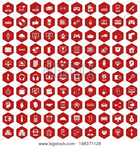 100 programmer icons set in red hexagon isolated vector illustration