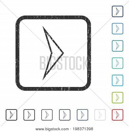 Arrowhead Right rubber watermark in some color versions.. Vector icon symbol inside rounded rectangle with grunge design and unclean texture. Stamp seal illustration, unclean sticker.