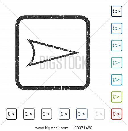 Arrowhead Right rubber watermark in some color versions.. Vector icon symbol inside rounded rectangle with grunge design and scratched texture. Stamp seal illustration, unclean sign.
