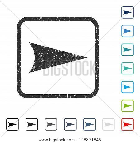 Arrowhead Right rubber watermark in some color versions.. Vector pictogram symbol inside rounded rectangle with grunge design and unclean texture. Stamp seal illustration, unclean emblem.