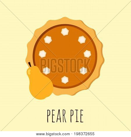 Homemade pear pie. Flat vector illustration isolated on the background. Pie with cream. Top view. Could be used as icon or design element. Eps10