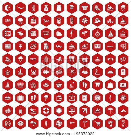 100 seaside resort icons set in red hexagon isolated vector illustration