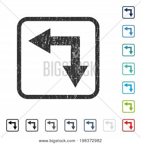Bifurcation Arrow Left Down rubber watermark in some color versions.. Vector icon symbol inside rounded rectangle with grunge design and dust texture. Stamp seal illustration, unclean emblem.