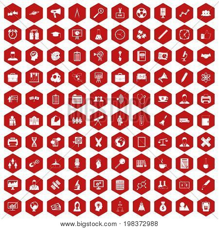 100 seminar icons set in red hexagon isolated vector illustration
