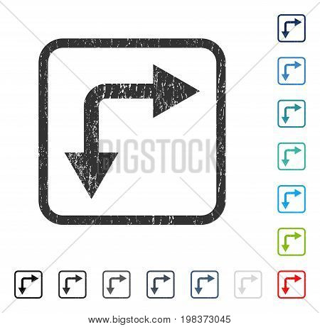 Bifurcation Arrow Right Down rubber watermark in some color versions.. Vector pictogram symbol inside rounded rectangle with grunge design and dirty texture. Stamp seal illustration, unclean sign.