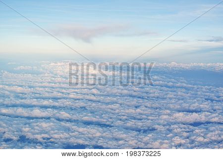 Clouds against the sky. Atmosphere of the Earth. Stratosphere. Border of the Cosmos.
