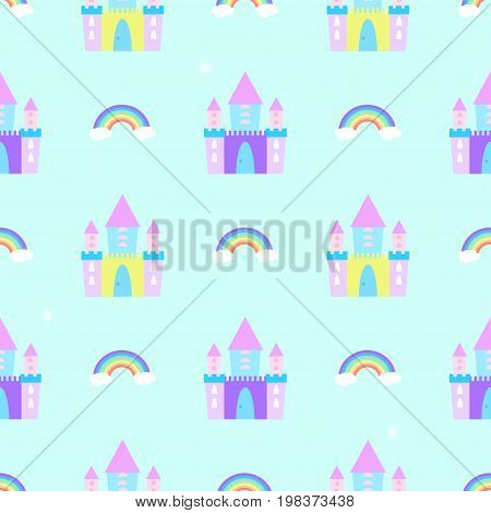 Fairytale castle seamless pattern fortress, dream, print, baby, fort, decorative, flat