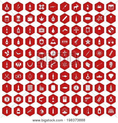 100 smuggling goods icons set in red hexagon isolated vector illustration