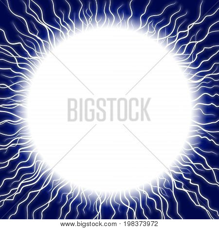 A blue round frame with lightning discharge.