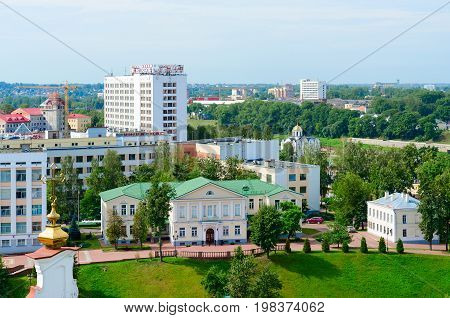VITEBSK BELARUS - JULY 13 2016: Top view of Puppet Theater tourist and hotel complex