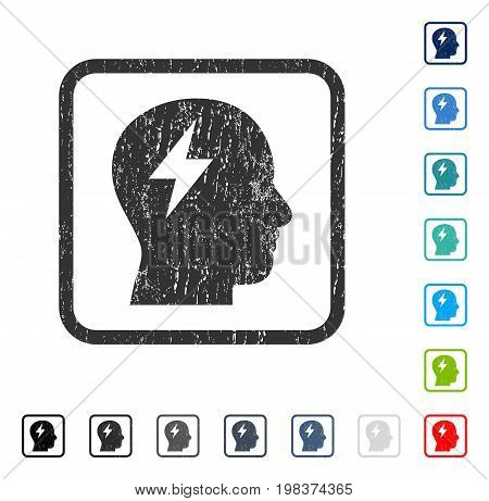 Brainstorming rubber watermark in some color versions.. Vector icon symbol inside rounded rectangular frame with grunge design and dust texture. Stamp seal illustration, unclean sign.