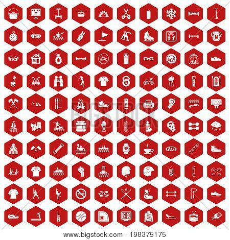 100 sport life icons set in red hexagon isolated vector illustration