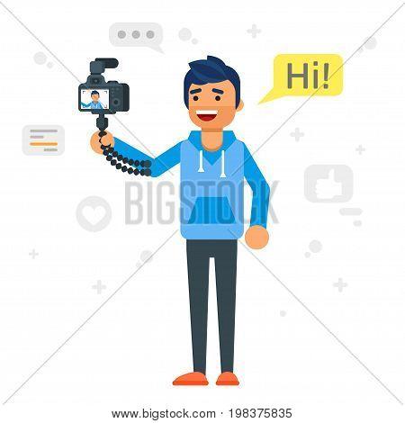 Vector flat style illustration of happy blogger man. Handsome man records video blog. Vlog concept.