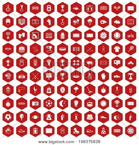 100 stadium icons set in red hexagon isolated vector illustration