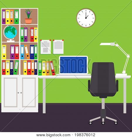The home workplace of the businessman Desk laptop filing Cabinet Desk lamp chair wall clock a globe. Vector illustration in flat style