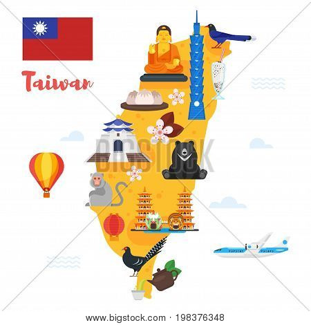 Vector flat style illustration of Taiwan map with cultural symbols. Isolated on white background.