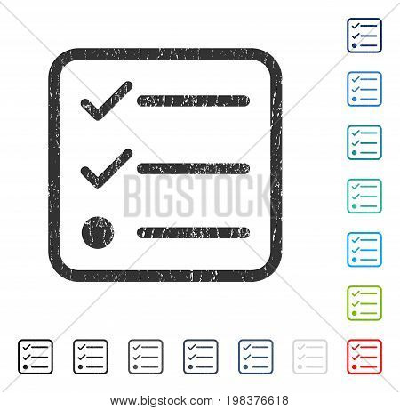Checklist rubber watermark in some color versions.. Vector icon symbol inside rounded rectangular frame with grunge design and dirty texture. Stamp seal illustration, unclean sign.