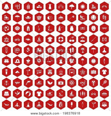 100 summer icons set in red hexagon isolated vector illustration