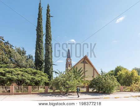GROOTFONTEIN NAMIBIA - JUNE 20 2017: The Dutch Reformed Church in Grootfontein in the Otjozondjupa Region of Namibia
