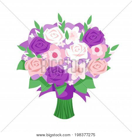Vector cartoon style illustration of bridal bouquet. Isolated on white background.