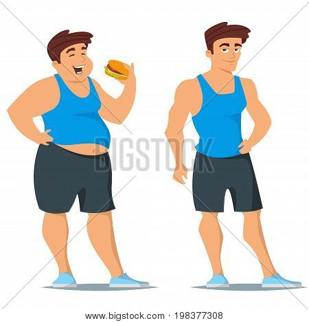 Vector cartoon style illustration of fat and slim man in sport wear. Before and after weight loss concept. Isolated on white background.