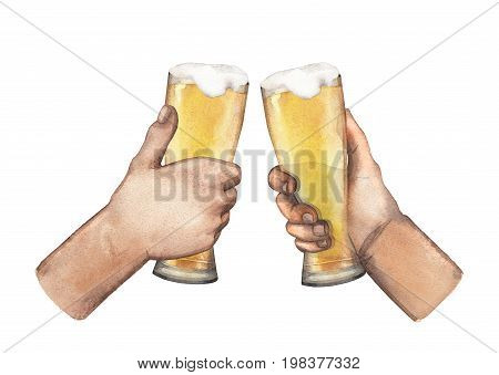 Two watercolor hands holding high glasses of pale beer. Hand painted illustration isolated on white background