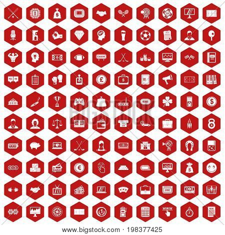 100 sweepstakes icons set in red hexagon isolated vector illustration