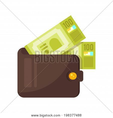 Vector flat style illustration of wallet with money. Isolated on white background. Icon for web.