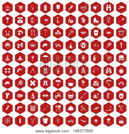 100 tackle icons set in red hexagon isolated vector illustration