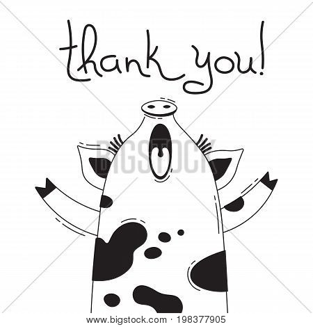 Illustration with joyful piggy who says - thank you. For design of funny avatars, posters and cards. Cute animal in vector.