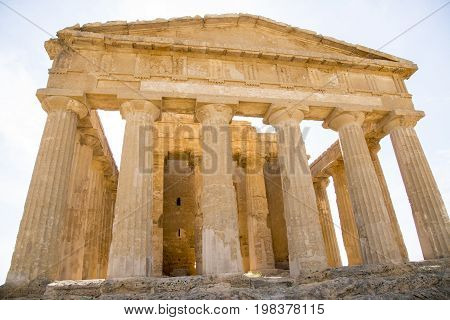 Ruins of Concord Temple in Valley of the Temples in Agrigento (Akragas) Sicily - May 22nd 2017