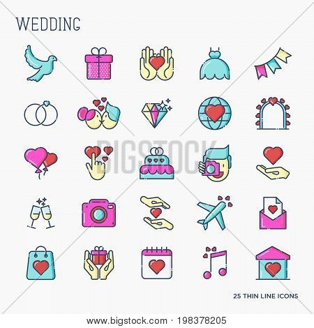 Set of colorful wedding icons in thin line style for invitation, menu for web site. Vector illustration.