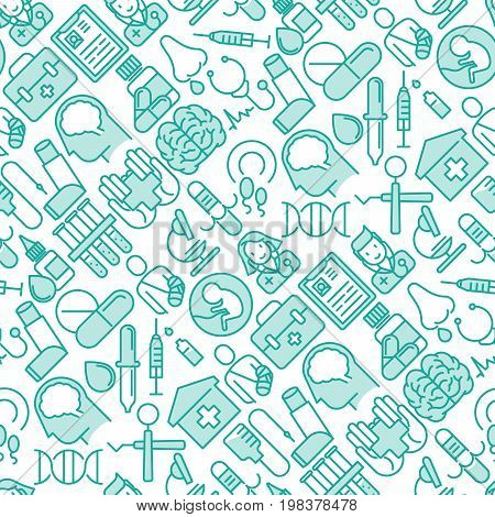 Health care seamless pattern with thin line icons related to hospital, clinic, laboratory. Vector illustration for conclusion, banner, web page.