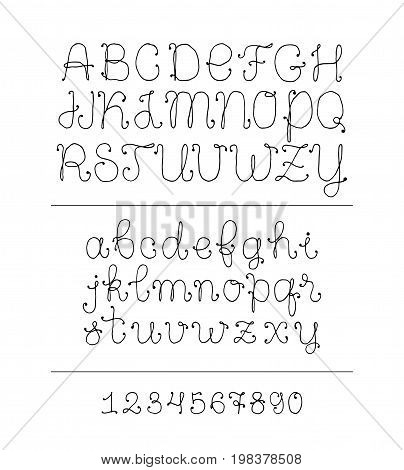 Handwritten vector alphabet uppercase and lowercase letters made with ink pen. Thin cute lies and dots. Elegant and fresh lettering.